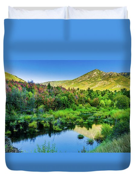 Duvet Cover featuring the photograph Autumn On The Little Deer Creek by TL Mair
