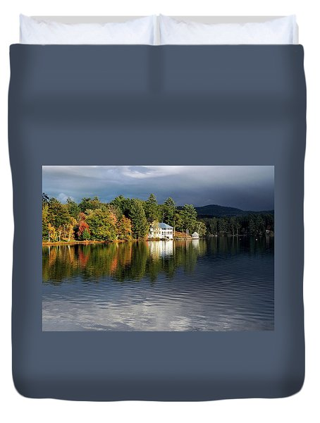Autumn Reflection Lake Morey Vermont Duvet Cover