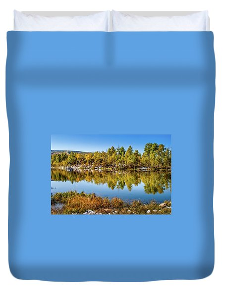 Duvet Cover featuring the photograph Autumn Reflections At Ivie Pond by TL Mair