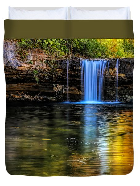 Duvet Cover featuring the photograph Autumn Reflections At Ludlow Falls by Dan Sproul