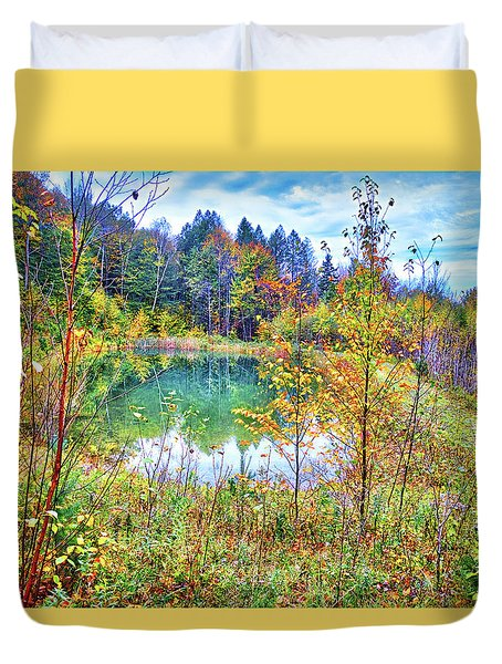 Duvet Cover featuring the photograph Autumn Reflections At The Pond by Lynn Bauer