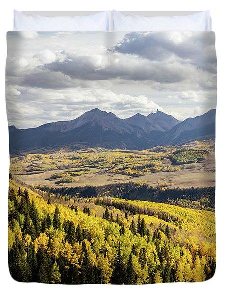 Autumn Season View Of Sneffles Ten Peak Duvet Cover