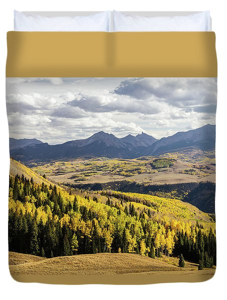 Duvet Cover featuring the photograph Autumn Season View Of Sneffles Ten Peak by James BO Insogna