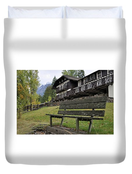 Autumn Silence At Lake Mcdonald Lodge In Glacier National Park Duvet Cover