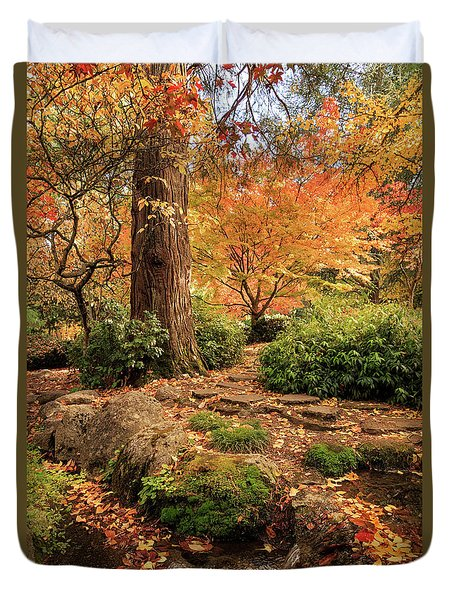 Autumn Stream In Lithia Park Duvet Cover
