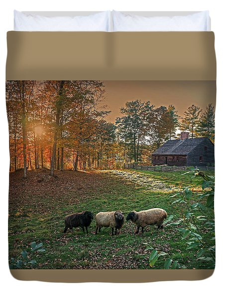 Duvet Cover featuring the photograph Autumn Sunset At The Old Farm by Wayne Marshall Chase