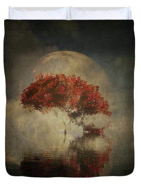 Duvet Cover featuring the digital art Autumn Tree In The Mist by Jan Keteleer