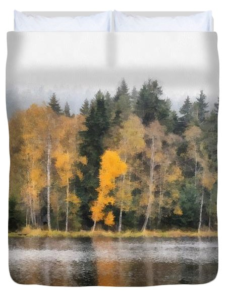 Autumn Trees On The Bank Of Lake Duvet Cover