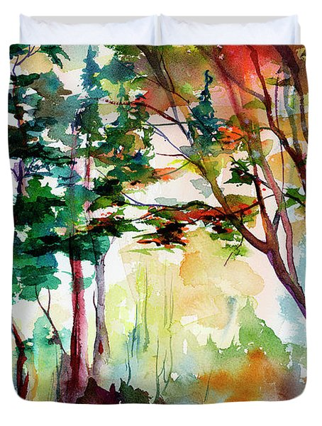Autumn Trees Watercolors Duvet Cover