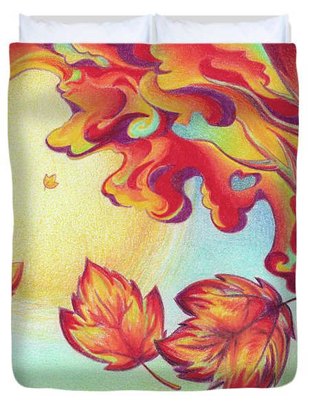 Autumn Wind And Leaves Duvet Cover