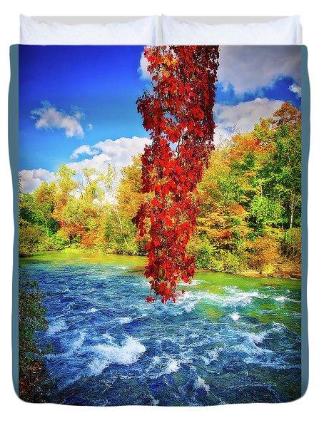 Duvet Cover featuring the photograph Autumn's Flame - Niagara Falls, New York by Lynn Bauer