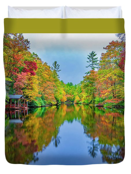 Duvet Cover featuring the photograph Autumn On Mirror Lake by Andy Crawford