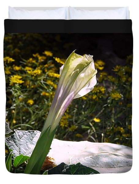 Duvet Cover featuring the photograph Awakening - Sacred Datura by Judy Kennedy