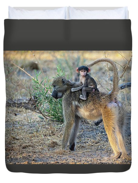 Baboon And Baby Duvet Cover