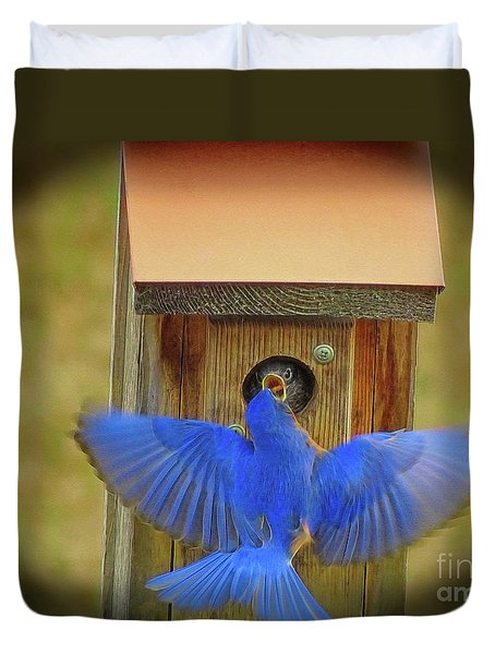 Baby Bluebird Feeding Time Duvet Cover