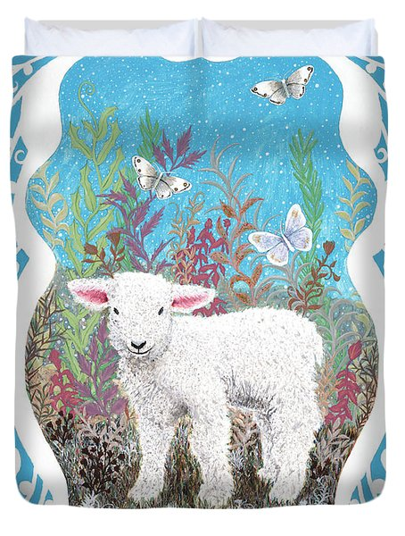 Baby Lamb With White Butterflies Duvet Cover