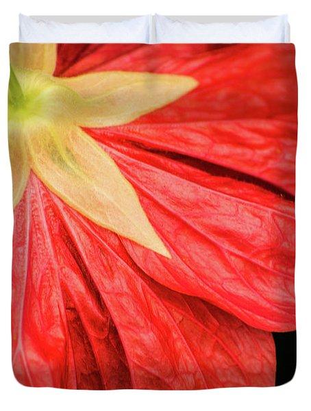 Back Of Red Flower Duvet Cover