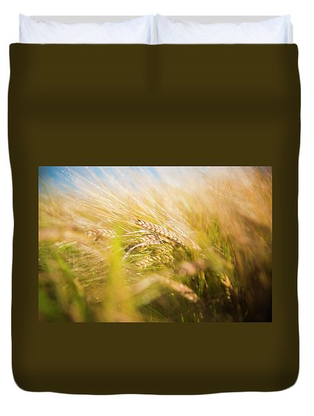Background Of Ears Of Wheat In A Sunny Field. Duvet Cover