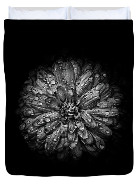 Duvet Cover featuring the photograph Backyard Flowers In Black And White 44 by Brian Carson