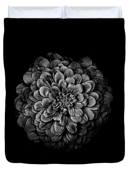 Duvet Cover featuring the photograph Backyard Flowers In Black And White 54 by Brian Carson