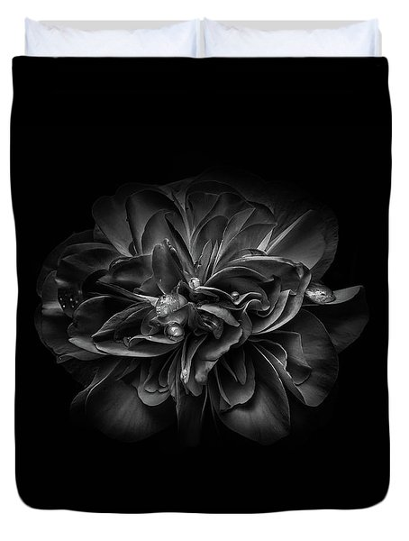 Duvet Cover featuring the photograph Backyard Flowers In Black And White 67 by Brian Carson