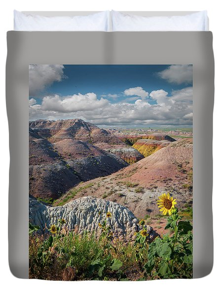 Badlands Sunflower - Vertical Duvet Cover