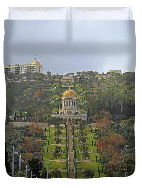 Bahai Gardens And Temple - Haifa, Israel Duvet Cover