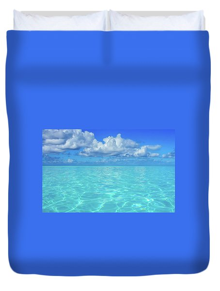 Duvet Cover featuring the photograph Bahama Blues, Half Moon Cay by Dawn Richards