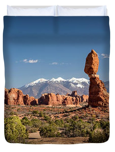 Duvet Cover featuring the photograph Balanced Rock And The La Sal Mountain Range by David Morefield