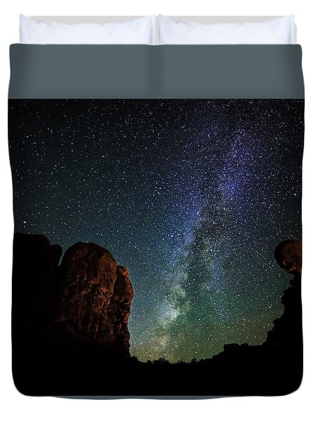 Duvet Cover featuring the photograph Balancing Act by Andy Crawford