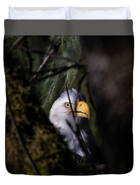 Bald Eagle Behind Tree Duvet Cover
