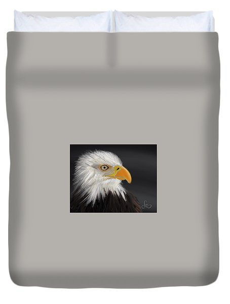Duvet Cover featuring the pastel Bald Eagle by Fe Jones