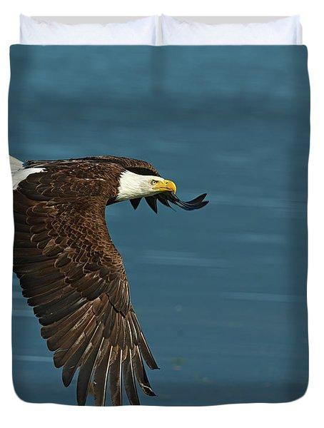 Bald Eagle Flys Across Hood Canal Duvet Cover