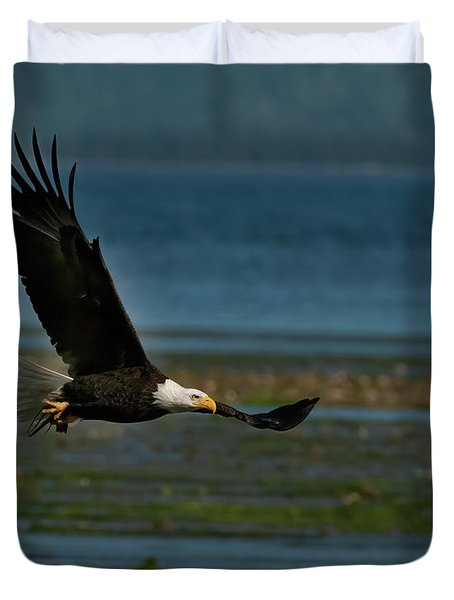Bald Eagle With A Catch Duvet Cover