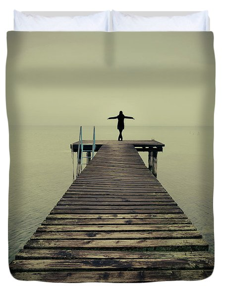 Ballerina Pose At Idyllic Lake At Winter Duvet Cover