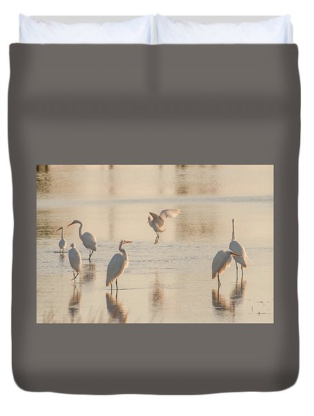 Ballet Of The Egrets Duvet Cover