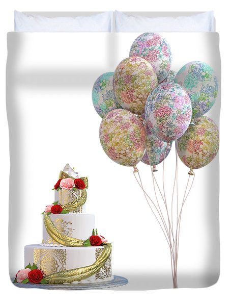 Balloons And Cake Duvet Cover