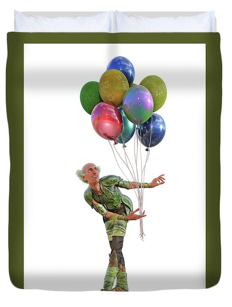 Balloons And Happy Guy Duvet Cover