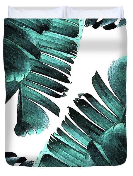 Banana Leaf - Tropical Leaf Print - Botanical Art - Modern Abstract - Blue, Navy, Teal Duvet Cover