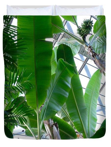 Banana Leaves In The Greenhouse Duvet Cover