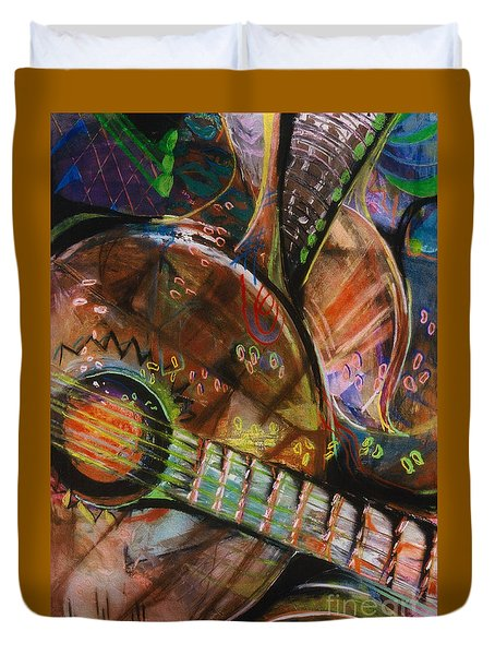 Duvet Cover featuring the pastel Banjos Jamming by Donna Hall