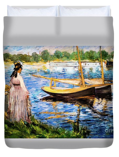 Banks Of The Seine At Argenteuil Duvet Cover