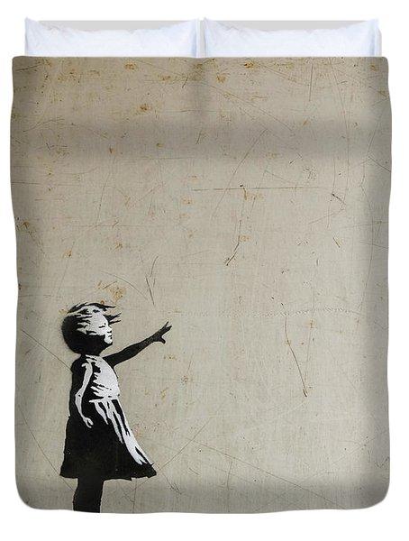 Duvet Cover featuring the photograph Banksy Balloon Girl Amsterdam by Gigi Ebert