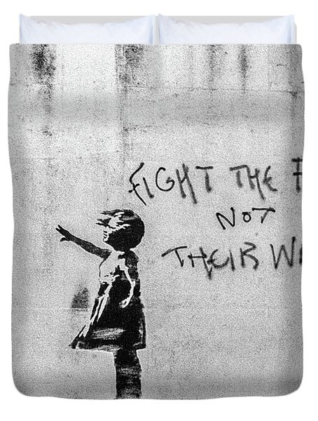Duvet Cover featuring the photograph Banksy Balloon Girl Fight The Fighters by Gigi Ebert