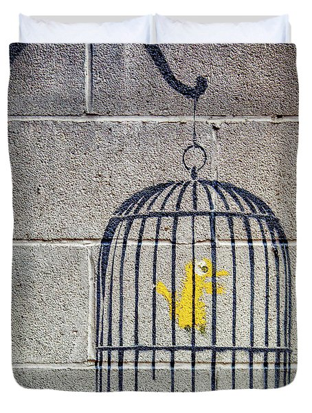 Duvet Cover featuring the photograph Banksy Bird Cage Detroit by Gigi Ebert