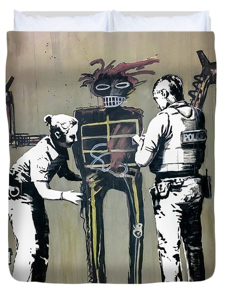 Duvet Cover featuring the photograph Banksy Coppers Pat Down by Gigi Ebert
