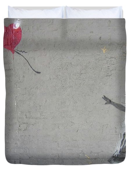 Duvet Cover featuring the photograph Banksy Girl With Balloon by Gigi Ebert