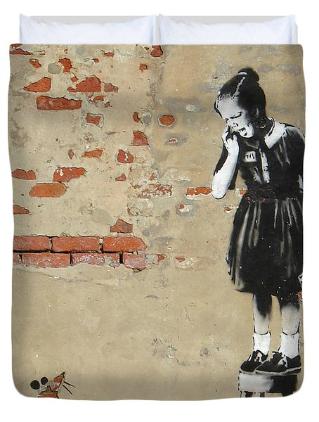 Duvet Cover featuring the photograph Banksy New Orleans Girl And Mouse by Gigi Ebert