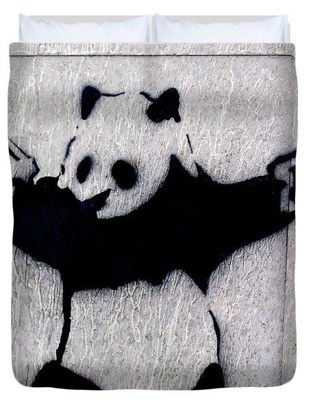 Duvet Cover featuring the photograph Banksy Panda by Gigi Ebert