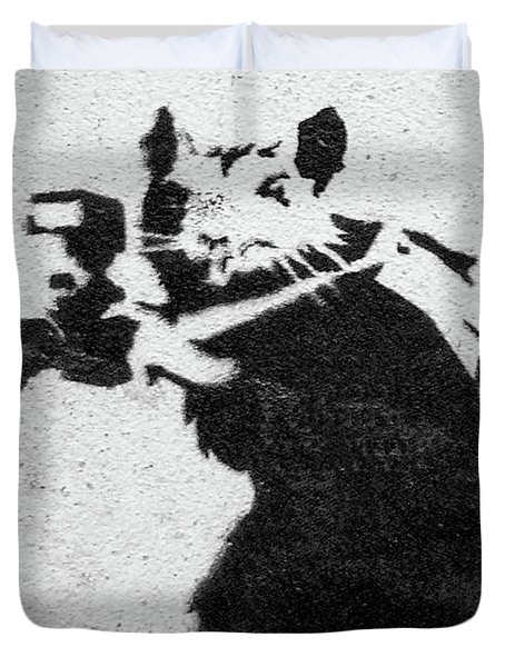 Duvet Cover featuring the photograph Banksy Rat With Camera by Gigi Ebert
